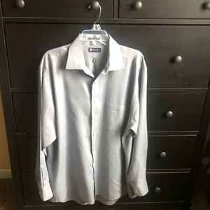 Chaps Dress Shirt Button Up Gray Wrinkle Free